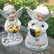 Napco Boy And Girl October Birthday Angels
