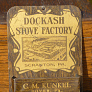 SALE Dockash Stove Factory Tin Litho Match Holder