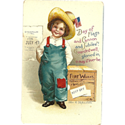 SOLD Ellen Clapsaddle Vintage Patriotic postcard Girl in bibs Fourth of July Holiday