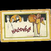 Stecher Vintage Halloween Postcard Series 90 Witch Jack O Lantern