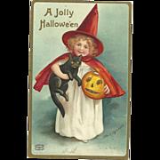 Wonderful Signed Ellen Clapsaddle Vintage Halloween Postcard Witch Black cat