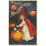 Signed Ellen Clapsaddle Little Red Witch Halloween Postcard