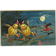 Raphael Tuck Halloween Series 150 Witch chasing Vegetable People