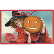 Frances Brundage Raphael Tuck Halloween Series No 174 Beautiful girl witch Jack O Lantern