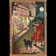 SOLD Raphael Tuck Halloween Series 160 Witch Black Cat Owl Moon