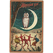 SOLD Raphael Tuck Halloween Series 160 Witch dancing with devils Owl Moon