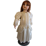 "Beautiful Chunky 24"" Open Mouth Jumeau vintage doll with real hair"