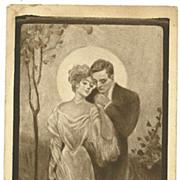 SOLD Scarce Honeymoon Romantic postcard man woman in Love with Moon
