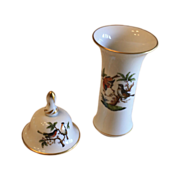 Set of 2 Herend Rothschild Bird Insect hand painted  accessories Kitchen Bell Vase 24K Gold ..