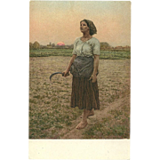 SOLD Artist Signed Jules Adophe Breton  The Song of the Lark Phostint Woman Field worker at Su