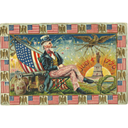 SOLD Uncle Sam Patriotic Fourth of July vintage Postcard American Flag Cannon