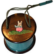 SOLD 1920's Vintage Collectible Celluloid Doll Purse bunny Rabbit Turquoise