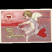 Signed Ellen Clapsaddle Vintage Valentine Series 4235 Postcard Girl On heart Key