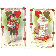 SOLD Set of 2 Vintage Valentine Postcards by Stecher Series 313 C & D music theme guitar m