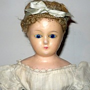 "REDUCED 22"" Wax Over Ingenue Doll Cobalt Eyes Cerise Boots White Lawn Costume"