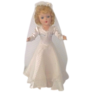 REDUCED 1950's Blond Hard Plastic Mary Hoyer Bride Tagged Gown  w Box
