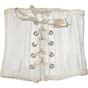 Antique Ivory Linen Doll Corset 5 Sets Grommets  Boned Ribbon Laces