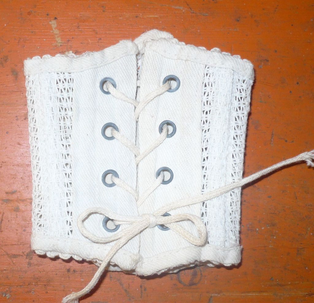 Antique Lacy Woven Ivory Boned Corset for French Fashion or Small Bebe