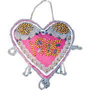 Exceptional 1905 Dated Beaded Heart Iroquois Tourist Pin Cushion