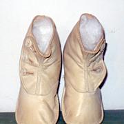 "4.5"" Edwardian  Ivory Kid Boots Flat Soles Greiner Rag Doll"