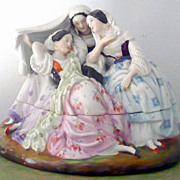 "Pending Sale*****5.5"" Glazed China Figural Inkwell  Sander 3 Pink Tint Ladies 1840's Hair"