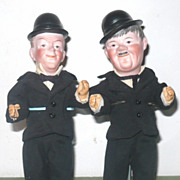 "PR 7.5"" Bisque Head Laurel & Hardy Hatted Character Dolls"