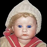 "13"" SFBJ 252 Blond Pouty Character Toddler Boy  Blue SE"