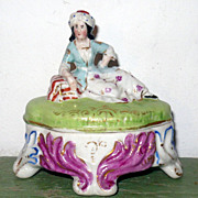 1850's Glazed China Trinket Box Seated  Lady Long Hair Turban