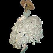 "SALE 1920's Lenci 27"" Long Limb Lady Brown Eyes Hoop Tiered Gown"