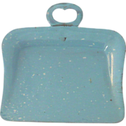 "Old 3.25"" Toy  Robins Egg Blue Granite Ware Dust Pan"