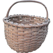 19th C Woven Splint Basket Carved Wood Handle Out of Round