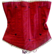 "Turkey Red Linen Boned  Contoured Corset 10.5"" Waist"