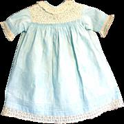 19th C  Blue Home Spun  Linen Dress Drawn Work Tucks