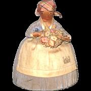 "6"" Black Quaker Lady Pincushion with Basket of Veggies"