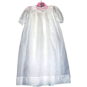 Labeled Gebr Mosse Lawn  Doll Christening Gown and  Slip with Lace and  Embroidery