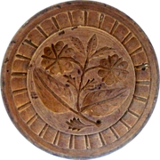 """4.5"""" One Piece 19th Century  Carved Wood NJ Double Rose Butter Stamp Nut Brown ..."""