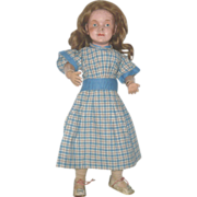19th Century Hand Stitched Blue Plaid Home Spun Linen Dress for Early Doll