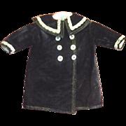 Antique Lined Black Velvet Coat with Back Belt for French Bebe or German Toddler