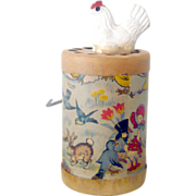 1930's AY-WON The Cackling Hen Lithographed Paper Crank Toy Great Graphics and Cackling Sound
