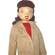 ******On hold********16 Inch Teeny Bopper Ravca 1930's Cloth and Papier-mache Character Doll