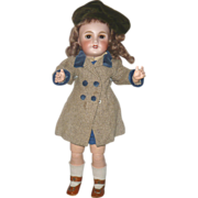 17 Inch UNIS France 301 E.T. School Girl  Original Pre Teen Body 1930's School Girl Costume Brown SE Fur Lashes  & Shadow