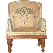 "Antique 4"" Linen Upholstered Arm Chair for Mignonette Wood Frame and Legs"