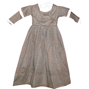 """Vintage 20"""" Brown Linen Print Dress for Papier-Mache  or China Doll Lined Bodice"""