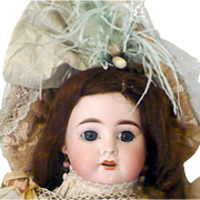 "17"" Late 19th Century French Bisque Head Mystery Doll with Deep Blue Paper Weight Eyes Open Mouth Great Silk Shepherdess Costume Blue Silk Shoes"
