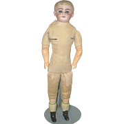 ********Pending Sale******13.5 Inch Bisque Shoulder Head School Boy with Neck and Plate Damage