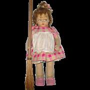 "1920's Lenci 1500 Series 19"" Grumpy Girl with Broom Lenci Cardboard Label 3 Flower ..."