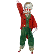 REDUCED Old 10 Inch German Composition and Wood Clown Face Boy Bellows Mechanism Waves Arm and