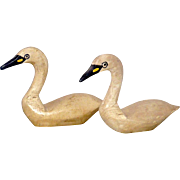 Pair NJ Signed Carved and Painted Wood Miniature Swan Decoys