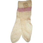 Old Store Stock Ribbed Knit Ivory Doll Stockings 3 Pink Bands  at Top
