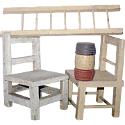 Schoenhut Circus Props 2 Chairs 1 Ladder 1 Red White Blue Barrel